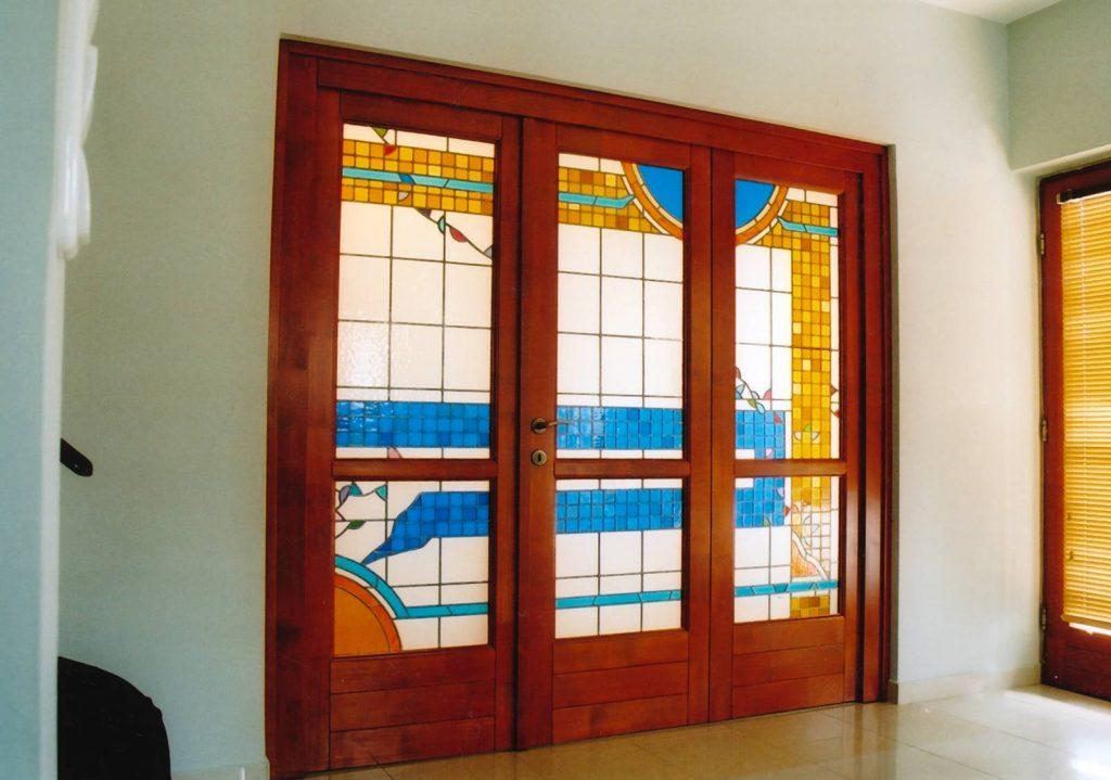 ólomüveg ajtó kék- sárga átmenet hefter lászló